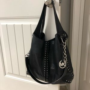 Michael Kors Black Studded Hobo Handbag